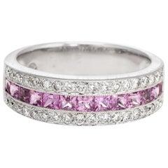 Estate Pink Sapphire Diamond Band 18 Karat White Gold Alternative Wedding Ring