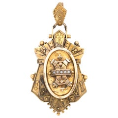 Antique Victorian Etruscan Revival Pendant Locket 14 Karat Gold Seed Pearls