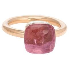 Pomellato Nudo Ring Retired Pink Tourmaline Estate 18 Karat Yellow Gold