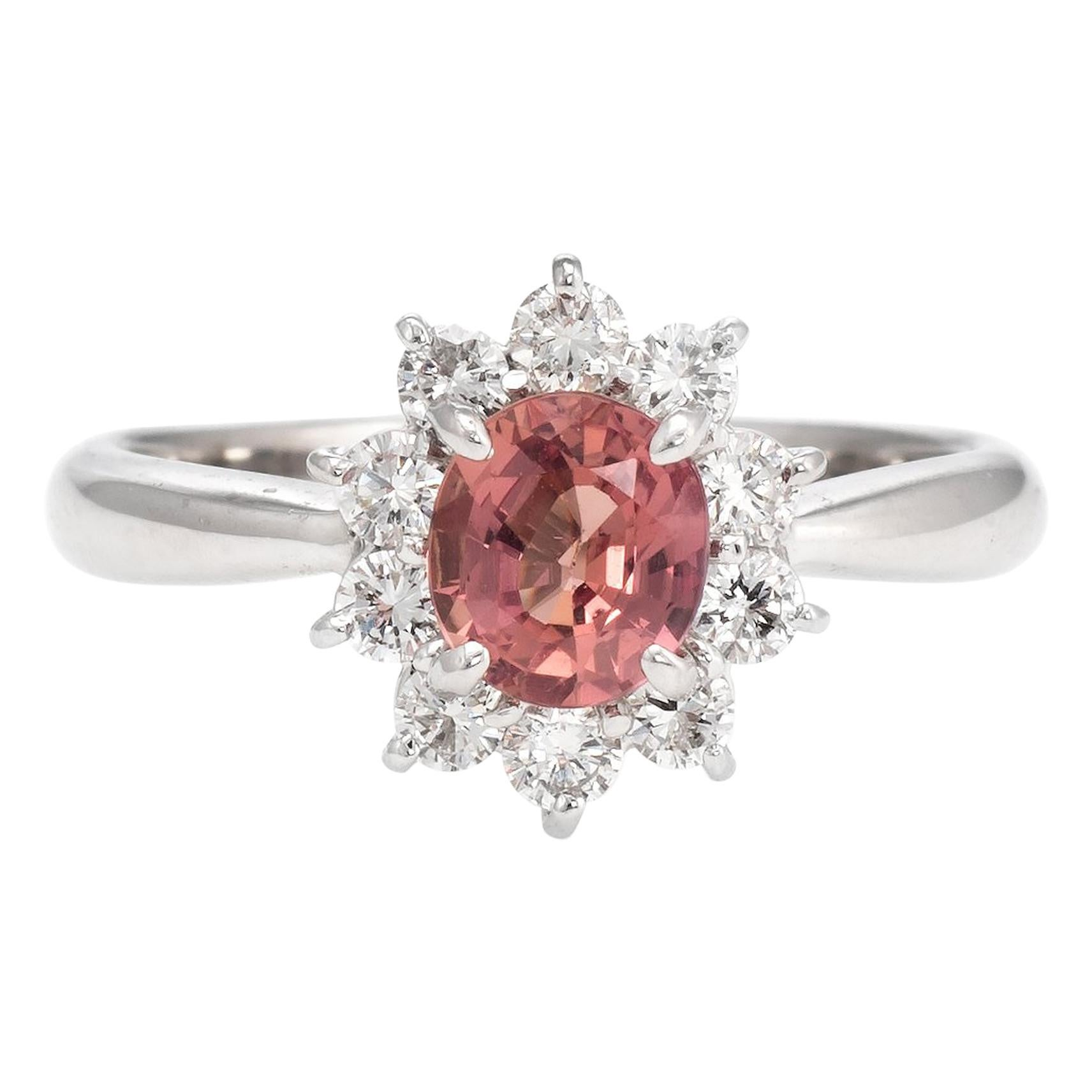 No Heat Natural Musky Pink Padparadscha Sapphire Ring Platinum Engagement