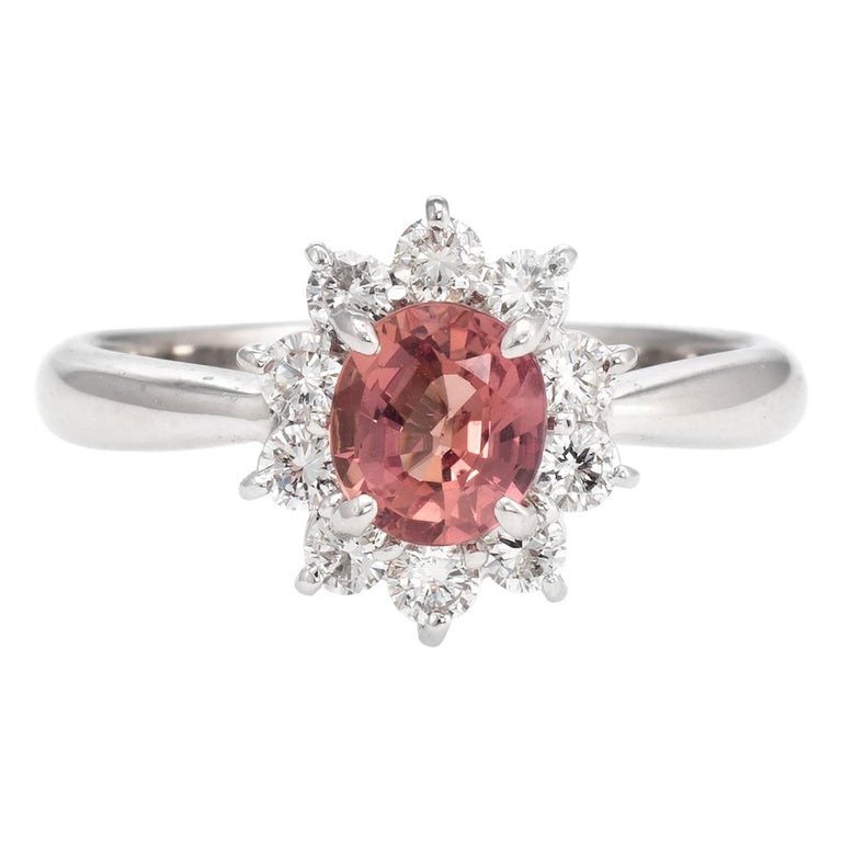 No Heat Natural Musky Pink Padparadscha Sapphire Ring Platinum Engagement For Sale