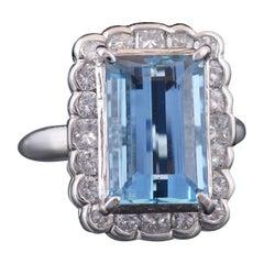 Set in Platinum 900, Emerald Cut Aquamarine and Diamond Wedding Ring