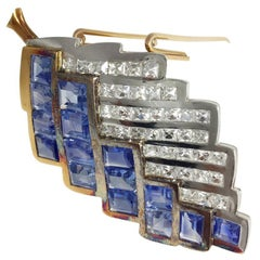 Boivin brooch Yellow Gold and Platinum Square Diamonds and Sapphires