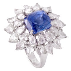 Set in 18 Karat Gold, Natural Blue Sapphire and Rose Cut Diamond Cocktail Ring