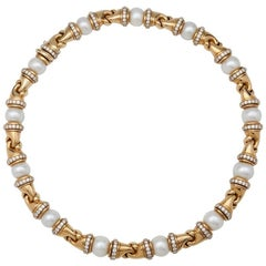 "Yellow Gold Bulgari ""Passo Doppio"" Necklace, Diamonds and Pearls"