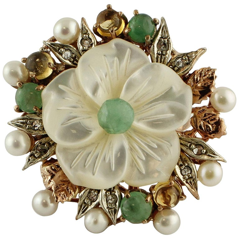 Diamonds Emeralds Sapphires Pearls Mother of Pearl Rose Gold and Silver Ring For Sale