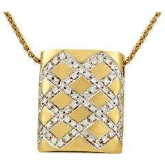 Vintage Belgian Diamond Yellow Gold White Gold Set Pendant