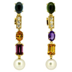 Bvlgari 18 Karat Gold Clip-On Earrings, Pearl, Amethyst, Citrine, Diamond, Topaz