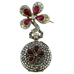 Antique Matranga Palema Pocket Watch, Diamonds and Rubies, circa 1910