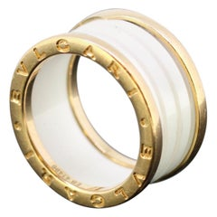 Bvlgari, B.Zero1 Solid 18 Karat Yellow Gold Ring, with 4 Band Ceramic