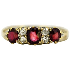 Antique Victorian 18k gold ladies ring with natural rubies and diamonds, 1880