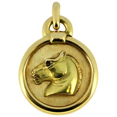 Vintage French 18 Karat Yellow Gold Horse Pendant with Ruby