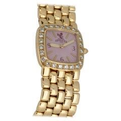 Ritz Ladies 18 Karat Gold Wristwatch with Pink Dial and Diamond Set Bezel