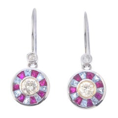 White Gold, Diamond, Ruby and Aquamarine Earrings