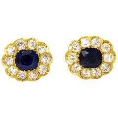 Edwardian Sapphire and Diamond 18 Carat Gold Earrings