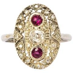 Art Deco Ruby and Diamond Platinum Ring