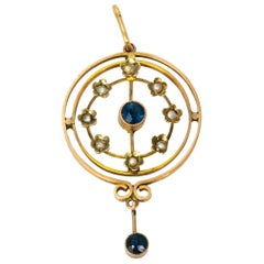 Edwardian 9 Carat Gold Sapphire Pearl Pendant