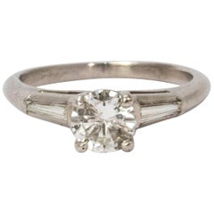 Certified Art Deco Diamond and 18 Karat White Gold Ring