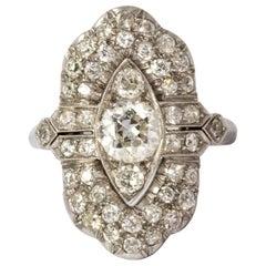 Art Deco Diamond Platinum Panel Ring