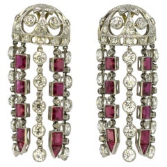 French 18k gold ladies screw-back chandelier earrings with diamonds and rubies