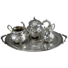 Antique Silver Tea Service Set, by Charles Lambe, Made in Dublin 1900