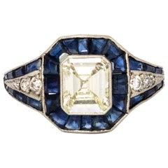 Certified Art Deco Sapphire and Diamond Platinum Ring