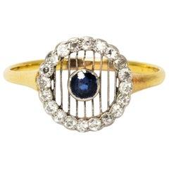 Edwardian Diamond and Sapphire 18 Carat Gold and Platinum Ring