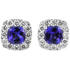 Cushion/Diamond shape Tanzanite and Diamond Cluster Earrings in 18ct White Gold