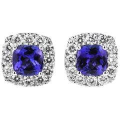 Cushion/Diamond shape Tanzanite and Diamond Cluster Earrings in 18ct White Gold