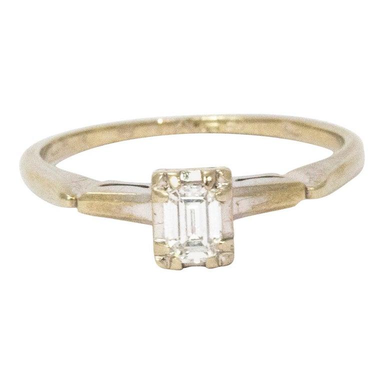 Art Deco Baguette Diamond 14 Carat White Gold For Sale