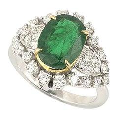 Emerald and Diamond Ring 2.80 Carat