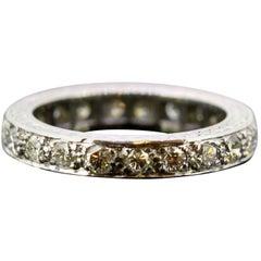 Vintage Platinum Eternity Band Ring with Diamonds, 1970s