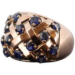 Boucheron, 18 Karat Rose Gold Ladies Ring with Blue Sapphires, 1970s