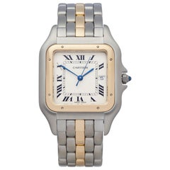 Cartier Panthere Single Row Stainless Steel and 18K Yellow Gold 8395