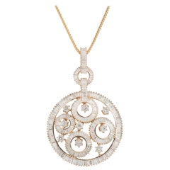 Large Rose Gold and Diamond Pendant Necklace 6.86 Carat