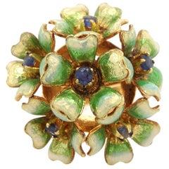 18 Karat Yellow Gold Enameled Floral Bookey Ring
