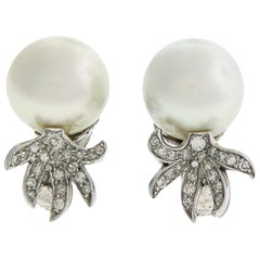 David Webb South Sea Pearl and Diamond Earrings