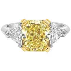 Roman Malakov, Certified Radiant Cut Yellow Diamond Three-Stone Engagement Ring