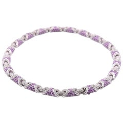 18 Karat White Gold Diamond and Pink Sapphire Necklace