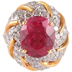 """Tiffany & Co."" 4.95 Carat Rubellite 2.05 Carat Diamond Ring"