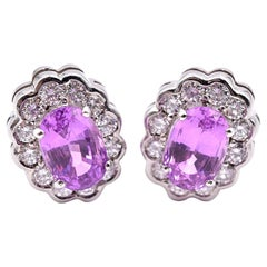 18 Karat White Gold Diamond and Pink Sapphire Earrings