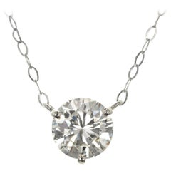 Peter Suchy 1.51 Carat Solitaire Diamond Platinum Pendant Necklace