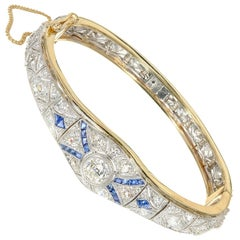 EGL Certified 3.65 Carat Diamond Sapphire Yellow Gold Platinum Bangle Bracelet