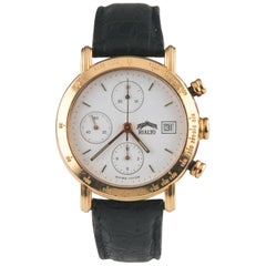 Rialto Chronograph 18 Karat Gold Automatic Watch with Date and Leather Band