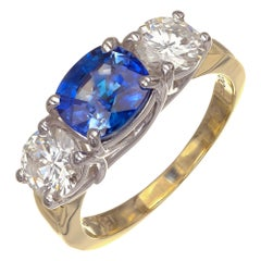 Jeff Cooper GIA Certified 3.33 Carat Sapphire Diamond Platinum Engagement Ring