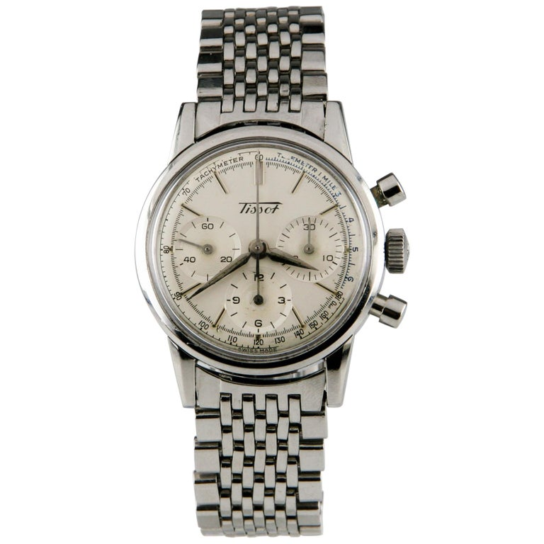 81598391214 Tissot Chronograph MVMT 1281 Vintage Stainless Steel Men's Watch with  Subdials For Sale