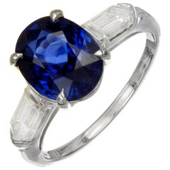 GIA Certified 3.51 Carat Sapphire Diamond Three-Stone Engagement Ring