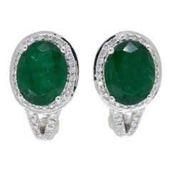 Diamond and Emerald Halo Earrings