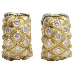 18 Karat Yellow Gold Small Hoop Earrings with Diamonds