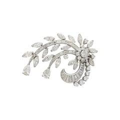 Estate Diamond Floral Platinum Brooch